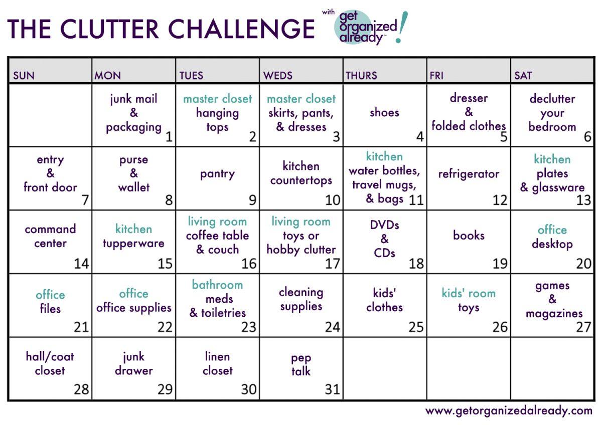 30Day Clutter Challenge with regard to 30 Day Declutter Challenge Calendar