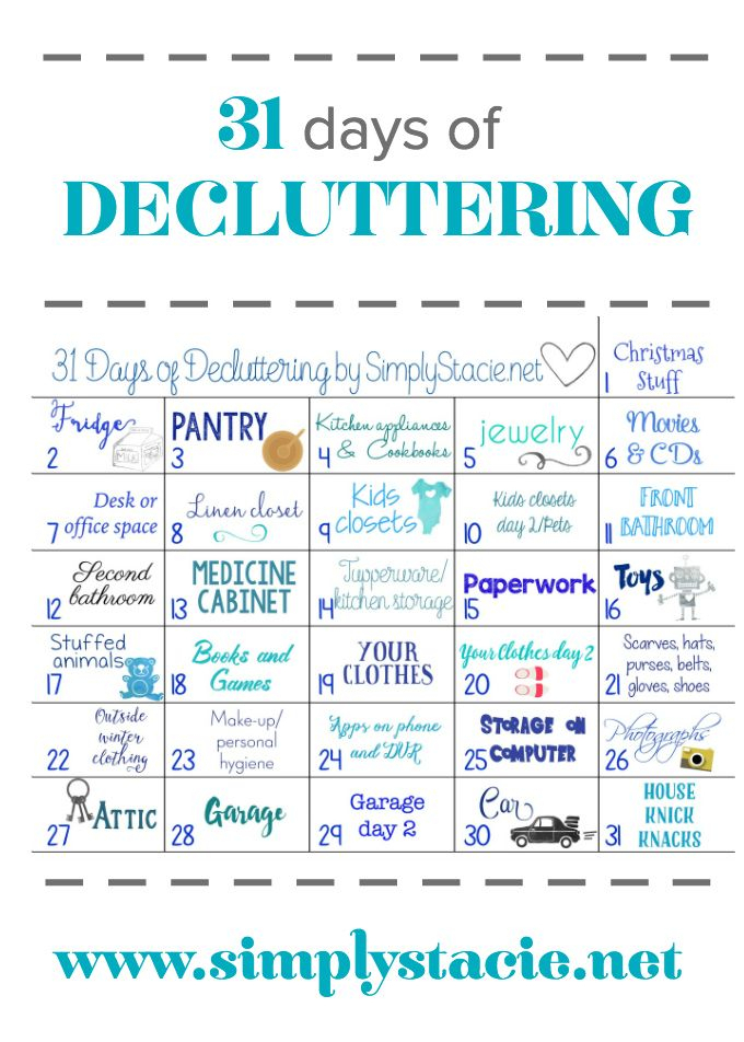 31 Days Of Decluttering  Make 2016 The Year You Get Your with regard to 30 Day Declutter Challenge Calendar