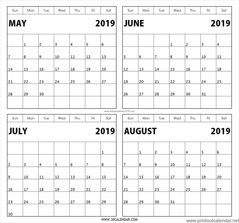4 Month Printable Calendar   Example Calendar Printable with Printable 4 Month Calendar