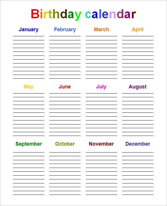40+ Microsoft Calendar Templates  Free Word, Excel throughout Birthday Calendar Template Excel