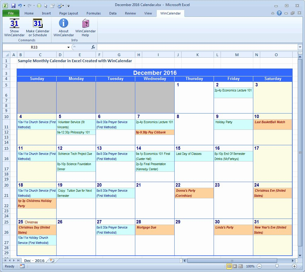 40 Monthly Schedule Template Excel | Excel Calendar, Excel throughout Print Yearly Calendar Outlook