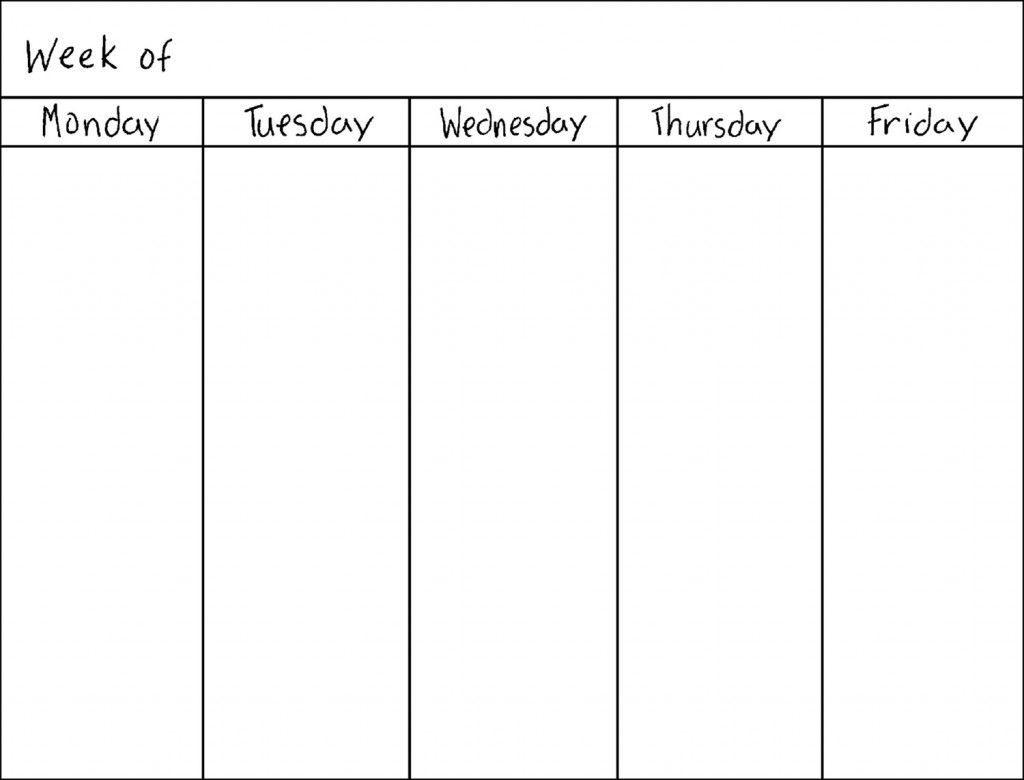 5 Day Printable Schedule Free  Example Calendar Printable inside 5 Day Blank Calendar