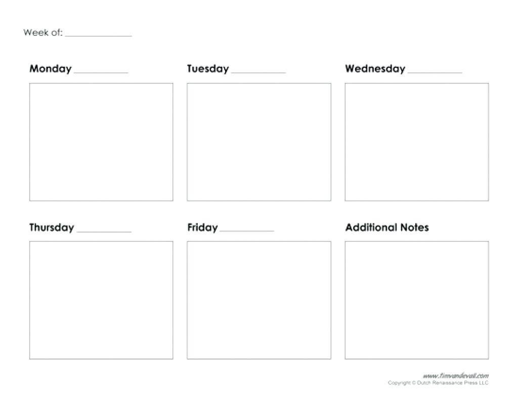 5 Day Weekly Calendar Printable   Example Calendar Printable with 5 Day Calendar Template