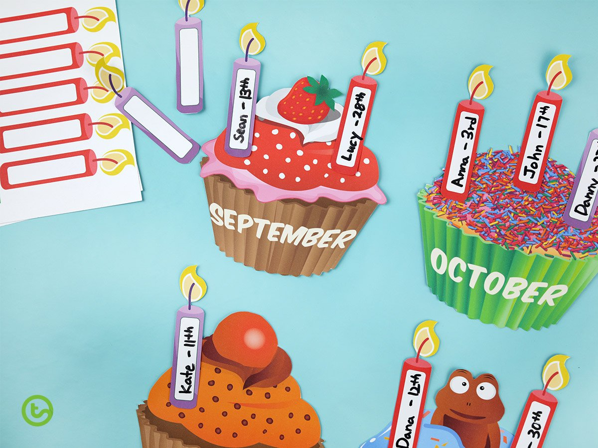 5 Fun And Unique Birthday Wall Ideas   Printable Displays in Cupcake Birthday Display