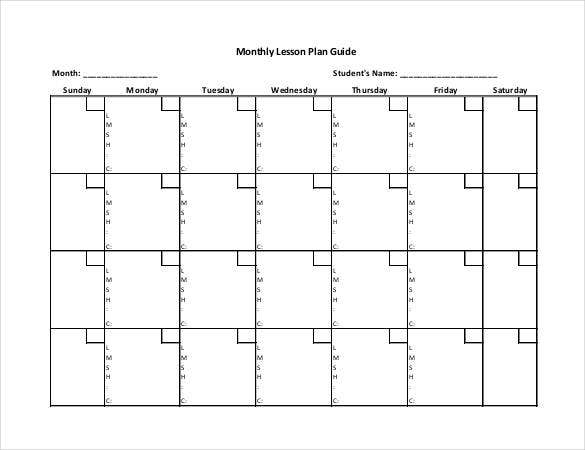50+ Lesson Plan Templates  Pdf, Doc, Excel   Free with Lesson Calendar Template