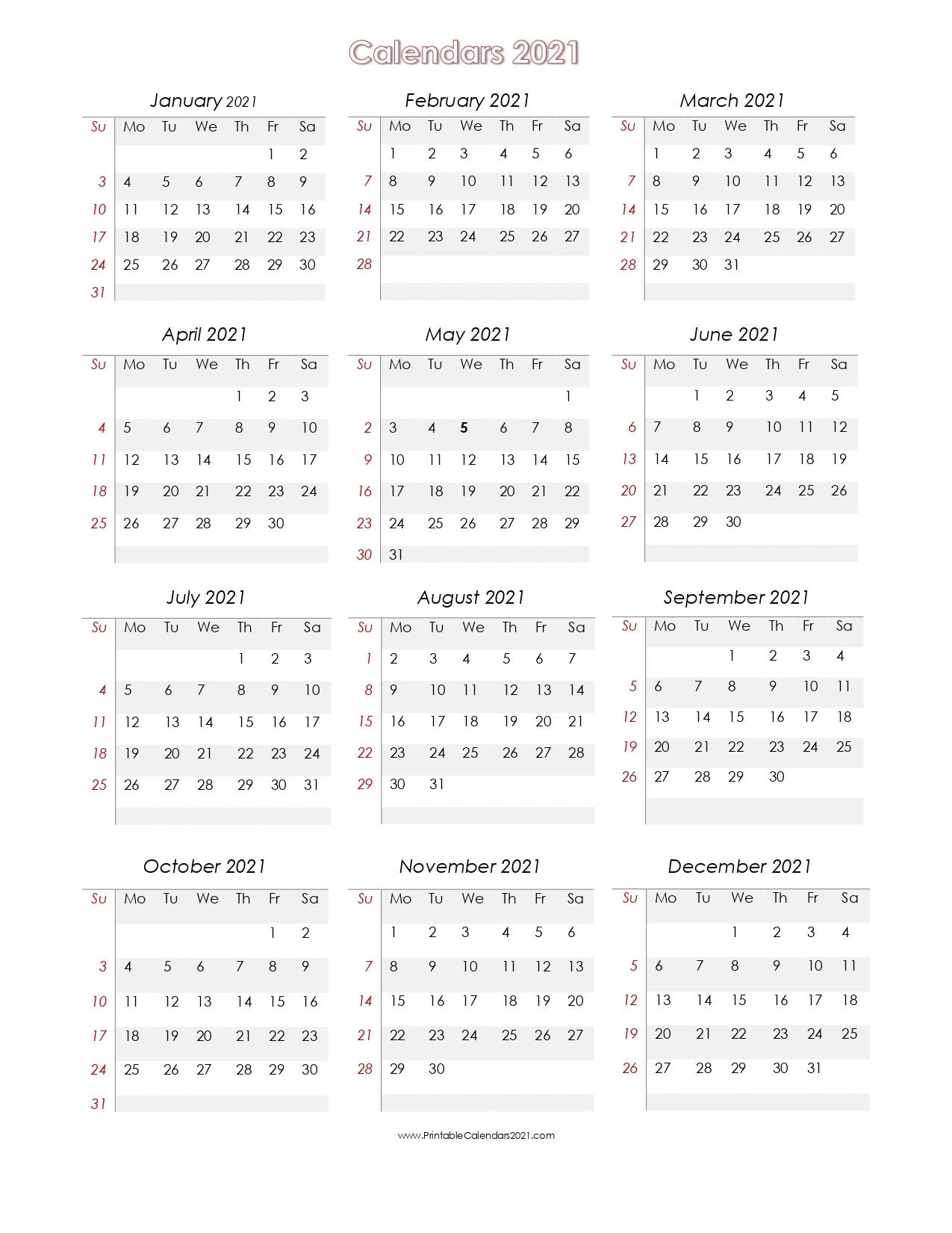 56+ Printable Calendar 2021 One Page, Us 2021 Calendar Yearly Blank regarding 2021 Calendar Free Printable