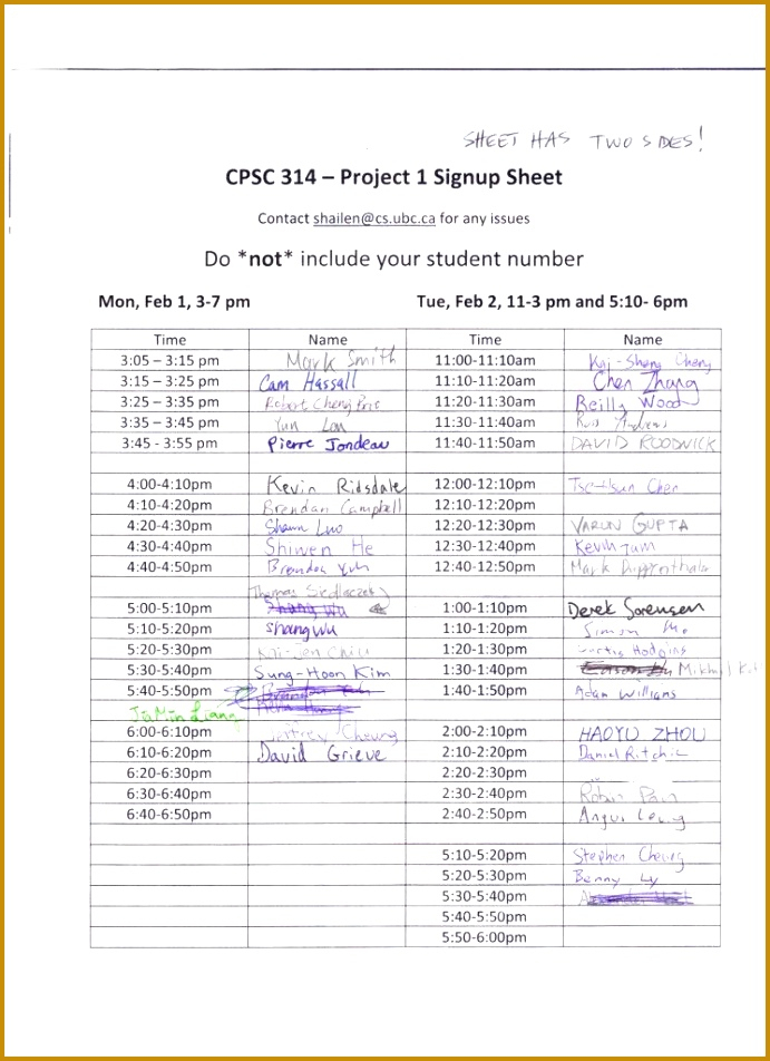 6 Sign Up Sheet With Time Slots Template   Fabtemplatez with Football Potluck Sign Up Sheet