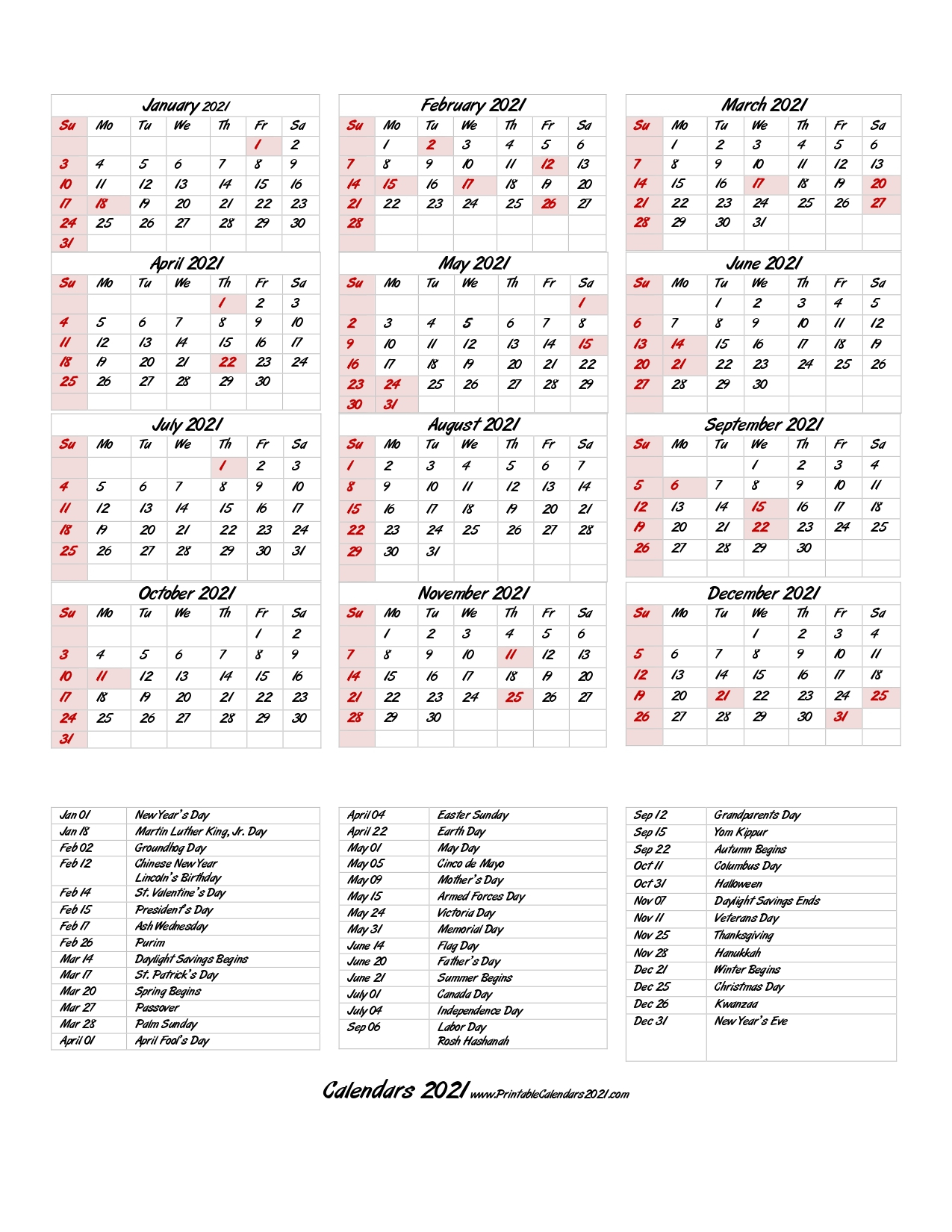 68+ Printable 2021 Yearly Calendar With Holidays, Portrait in Desktop Calendars 2021 Free Printable