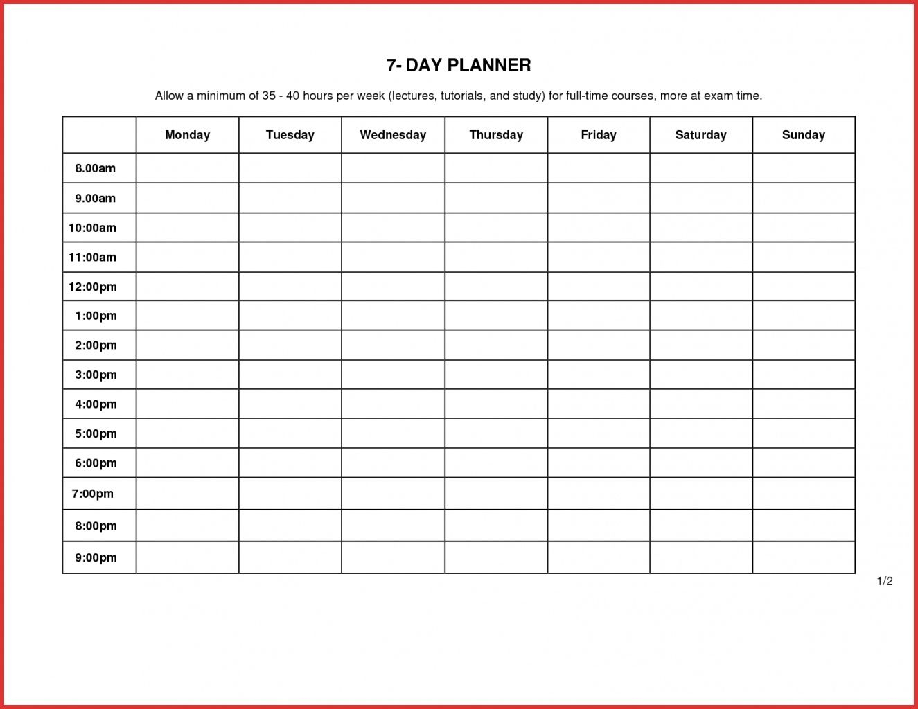 7 Day Calendar Template Word   Weekly Calendar Template with regard to 7 Day Planner Template