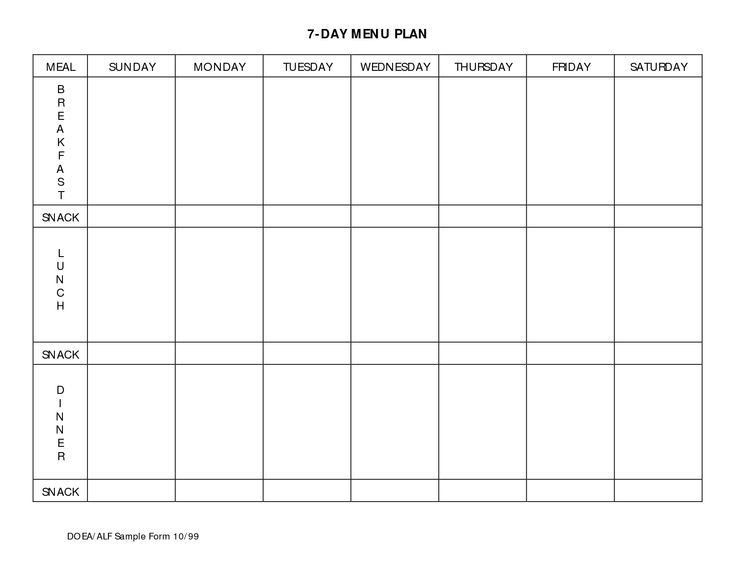 7 Day Meal Planner Template Business Letter Template throughout 7 Day Weekly Planner Template