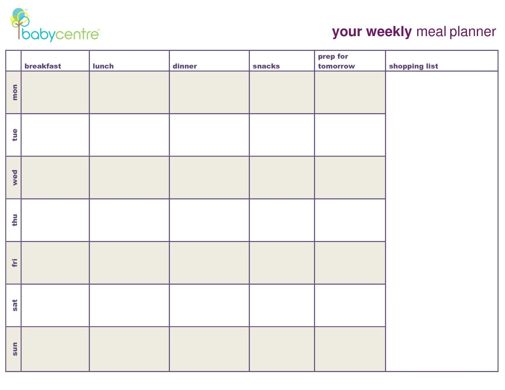 7 Day Menu Planner Template Awesome Meal Planning Calendar with regard to 7 Day Weekly Planner Template
