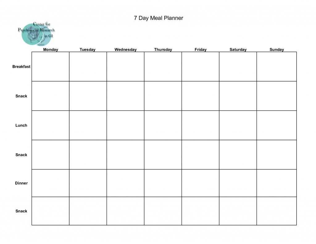 7 Day Weekly Planner Template Printable   Calendar regarding 7 Day Planner Template