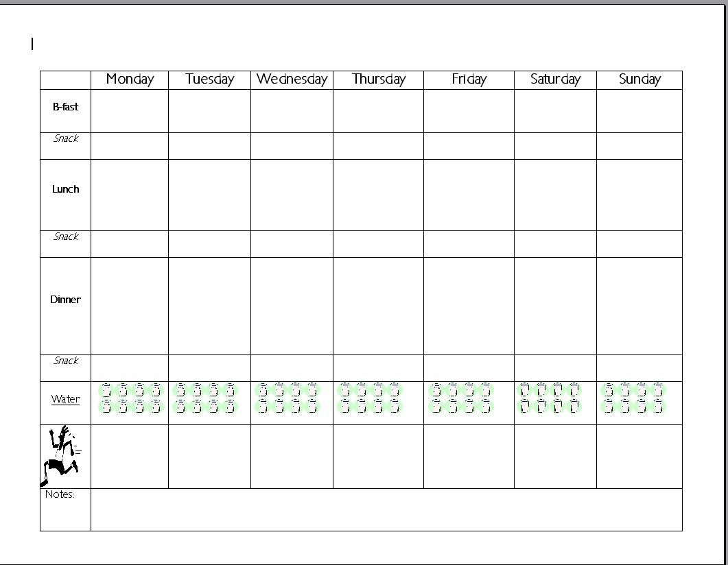 7Day Meal Planner Template   Meal Plan Charts Forbidden pertaining to 7 Day Planner Template