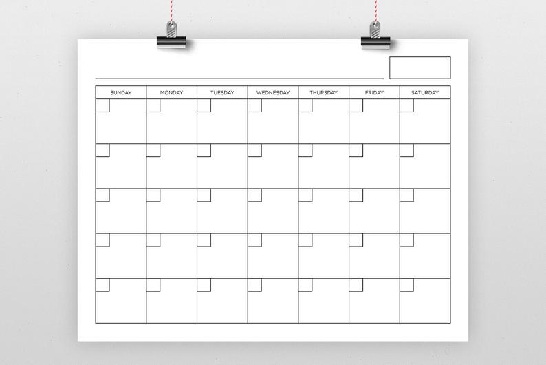 8.5 X 11 Inch Blank Calendar Page Template Instant with 8X11 Calendar Printable