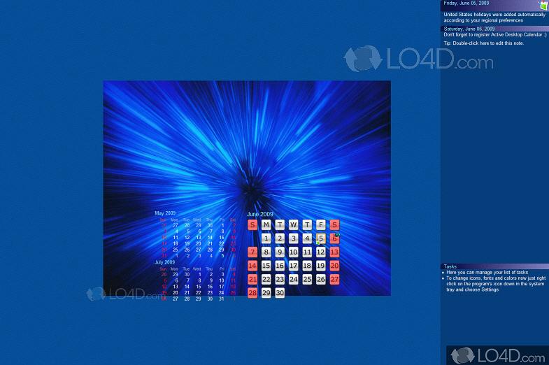 Active Desktop Calendar 7.96  Lo4D intended for How To Make Google Calendar My Desktop Background