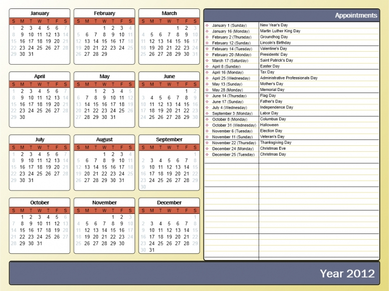 Appointments Calendar For Year :Free Calendar Template with regard to Print Yearly Calendar Outlook
