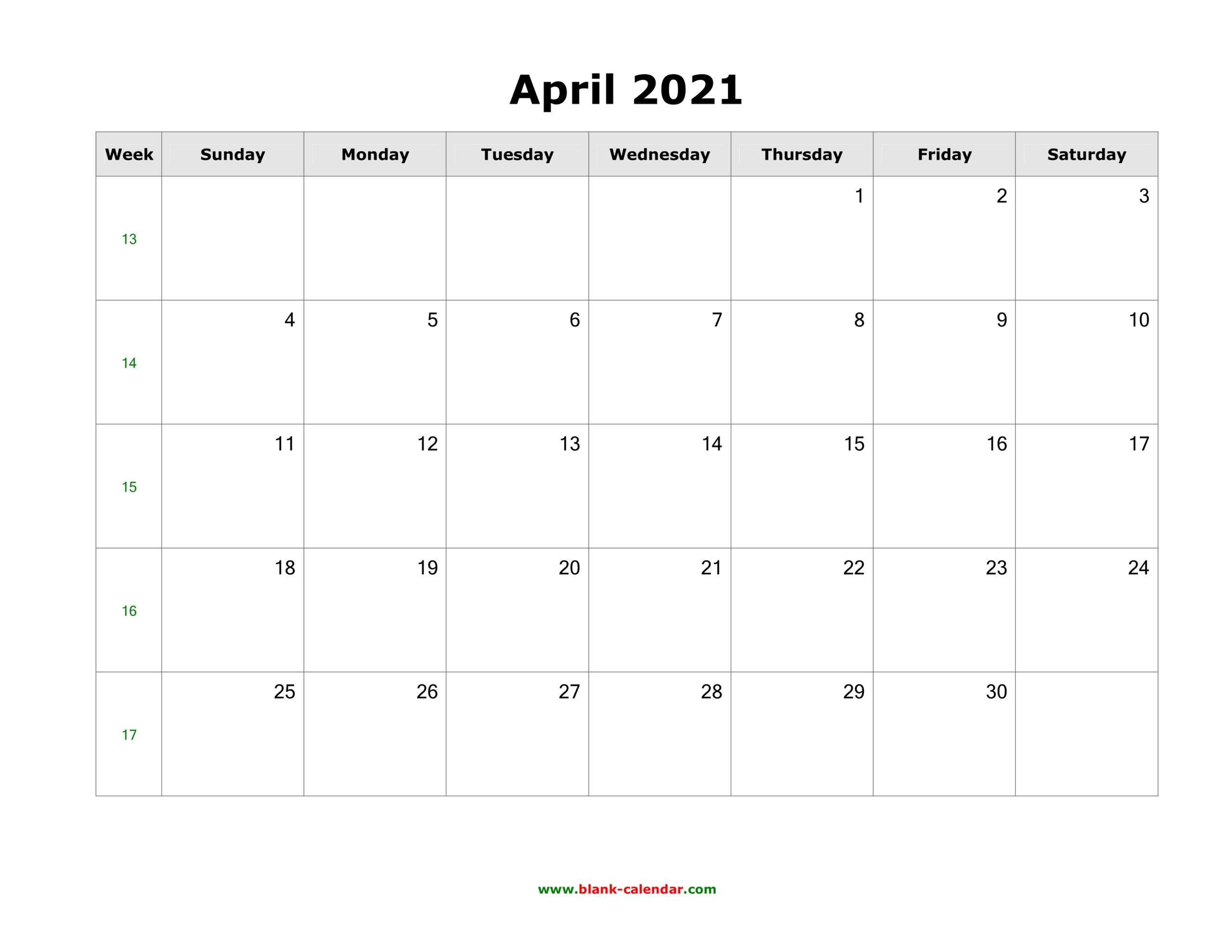 April 2021 Blank Calendar   Free Download Calendar Templates within Google Printable Monthly Calendar 2021