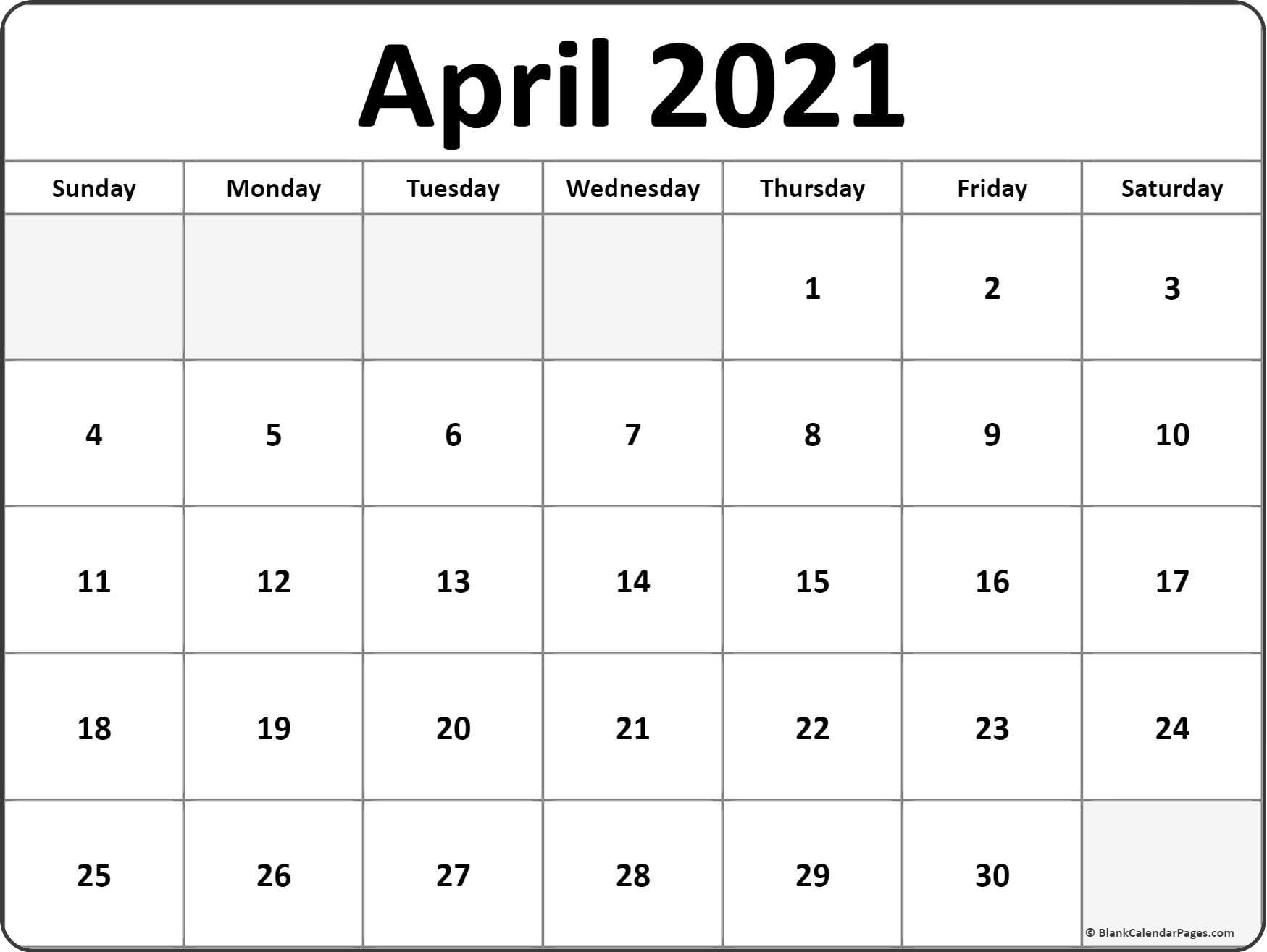 April 2021 Calendar Free Printable Monthly Calendars 3 in Last 3 Month Of 2021 Calendar