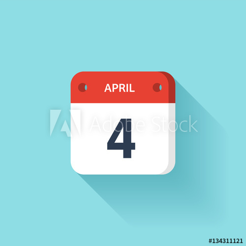 April 4. Isometric Calendar Icon With Shadow.vector intended for Weekly Calendar Sunday To Saturday