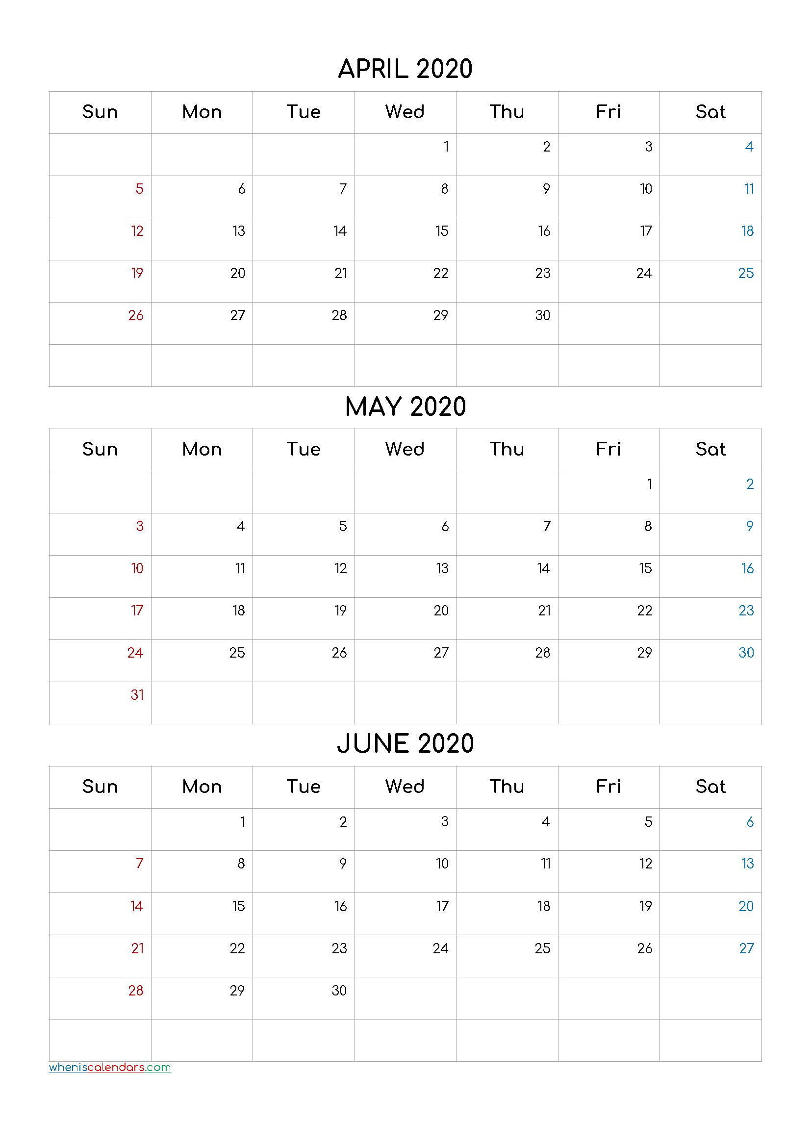 April May June 2020 Three Month Calendar Printable20Cf4 throughout Printable Calendar With Three Months