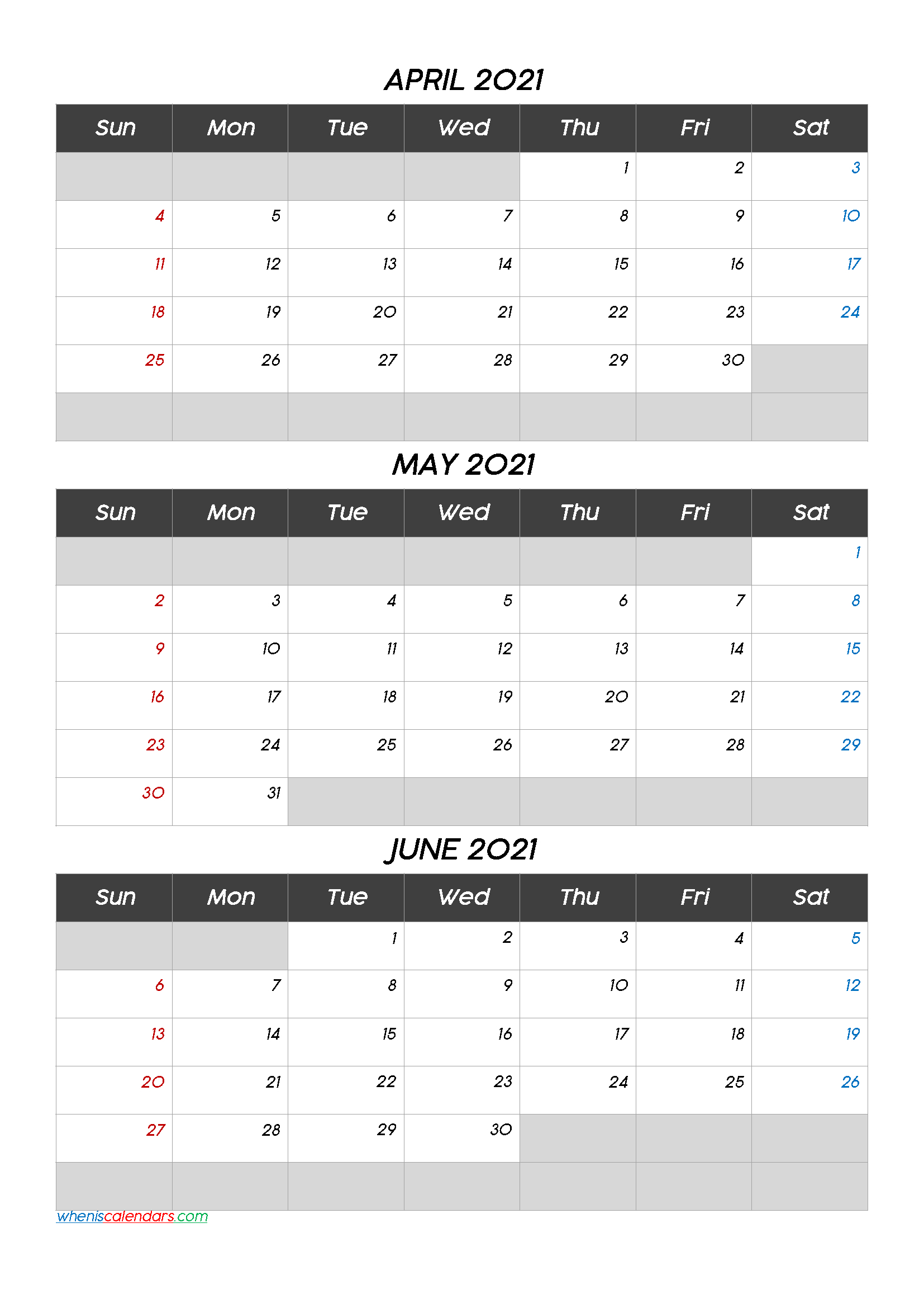 April May June 2021 Printable Calendar [Q1Q2Q3Q4] regarding Blank Printable Calendars 3 Month 2021