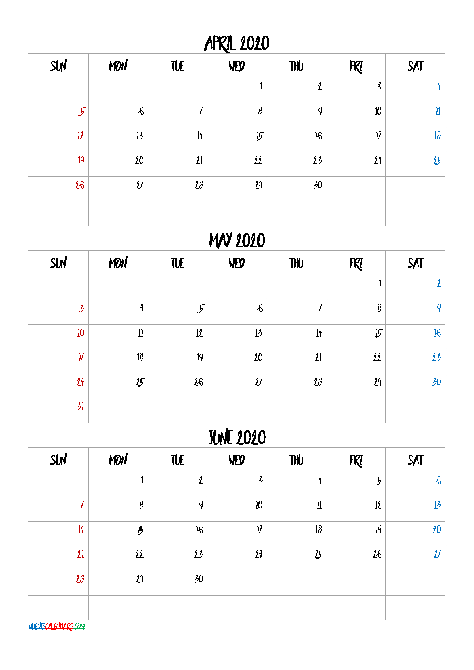 April May June 2021 Three Month Calendar Printable21Bb4 intended for 3 Month Printable Calendar Templates For 2021