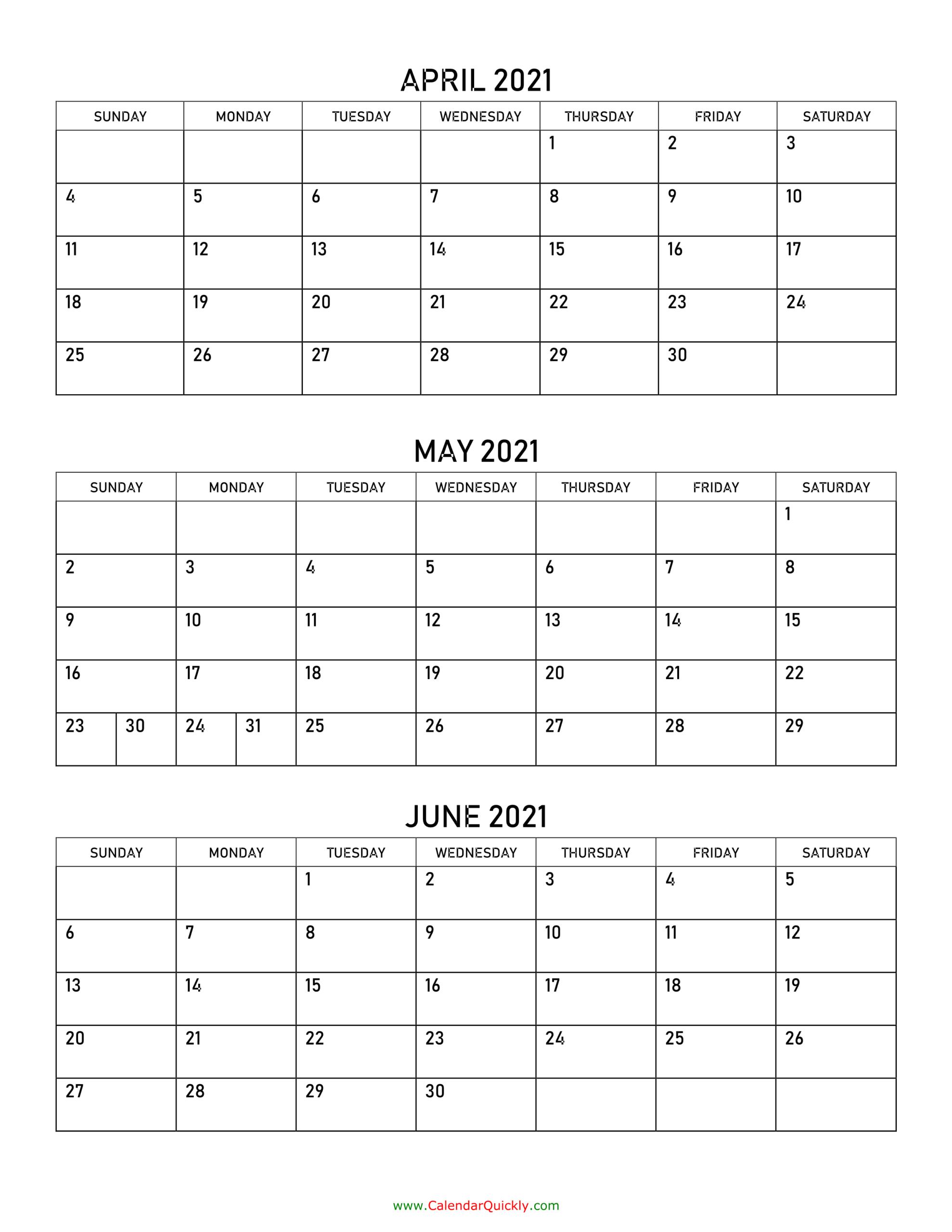 April To June 2021 Calendar | Calendar Quickly regarding Printable Calendar With Three Months