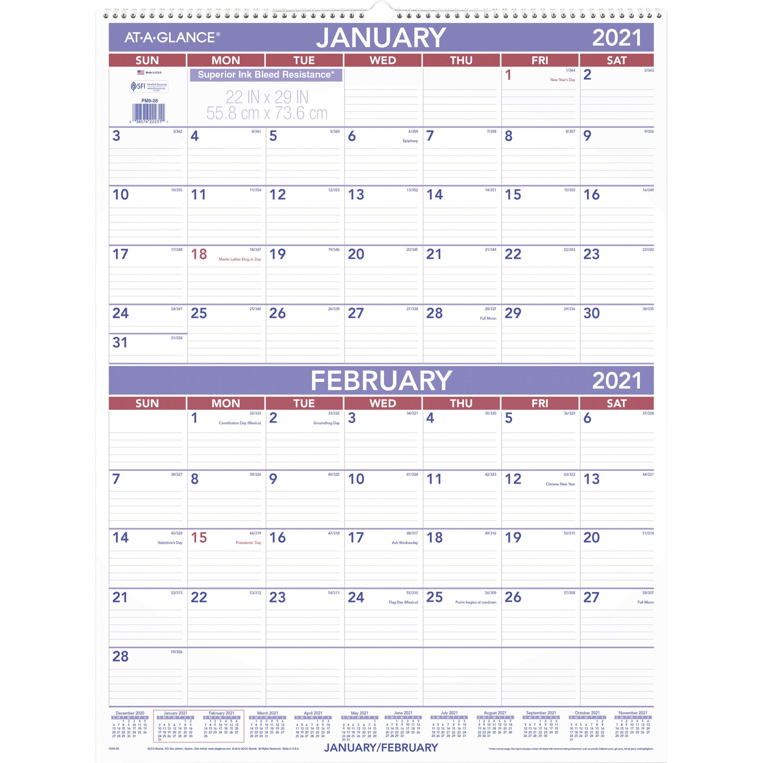 Ataglance 2Month Wall Calendar  Monthly  1 Year with Calendar Template 3 Months Per Page