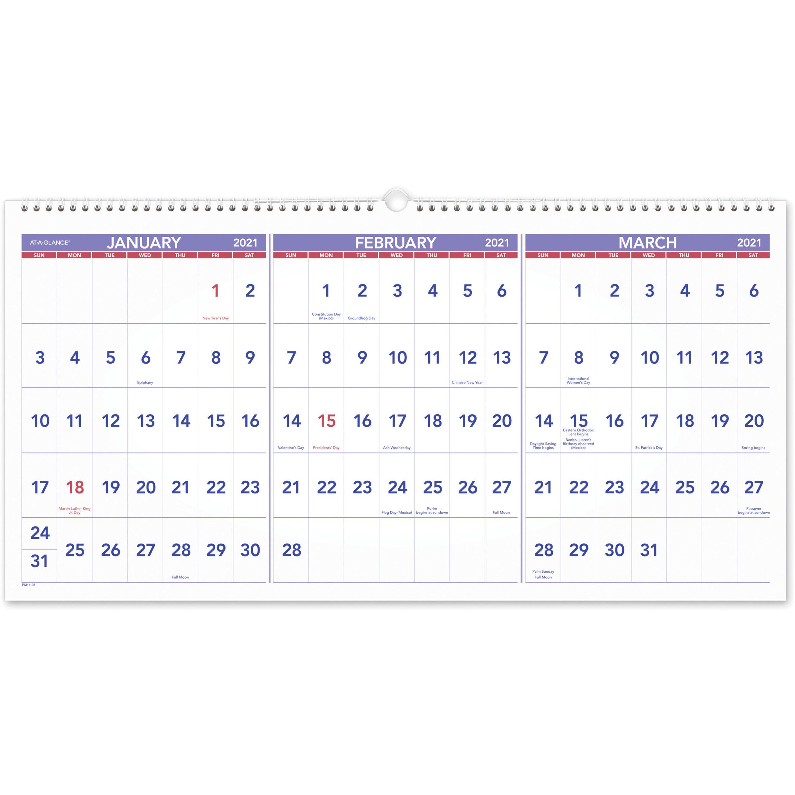 Ataglance 3Month Horizontal Wall Calendar  Julian with regard to Last 3 Month Of 2021 Calendar
