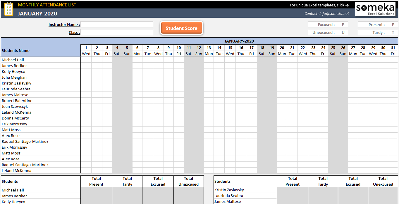 Attendance Sheet Template In Excel  Free Download with regard to Excel Monthly Tracker Template