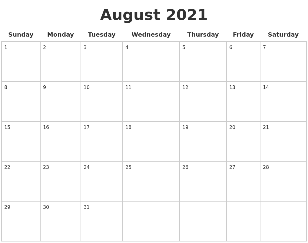 August 2021 Blank Calendar Pages within August 2021 Template Calendar