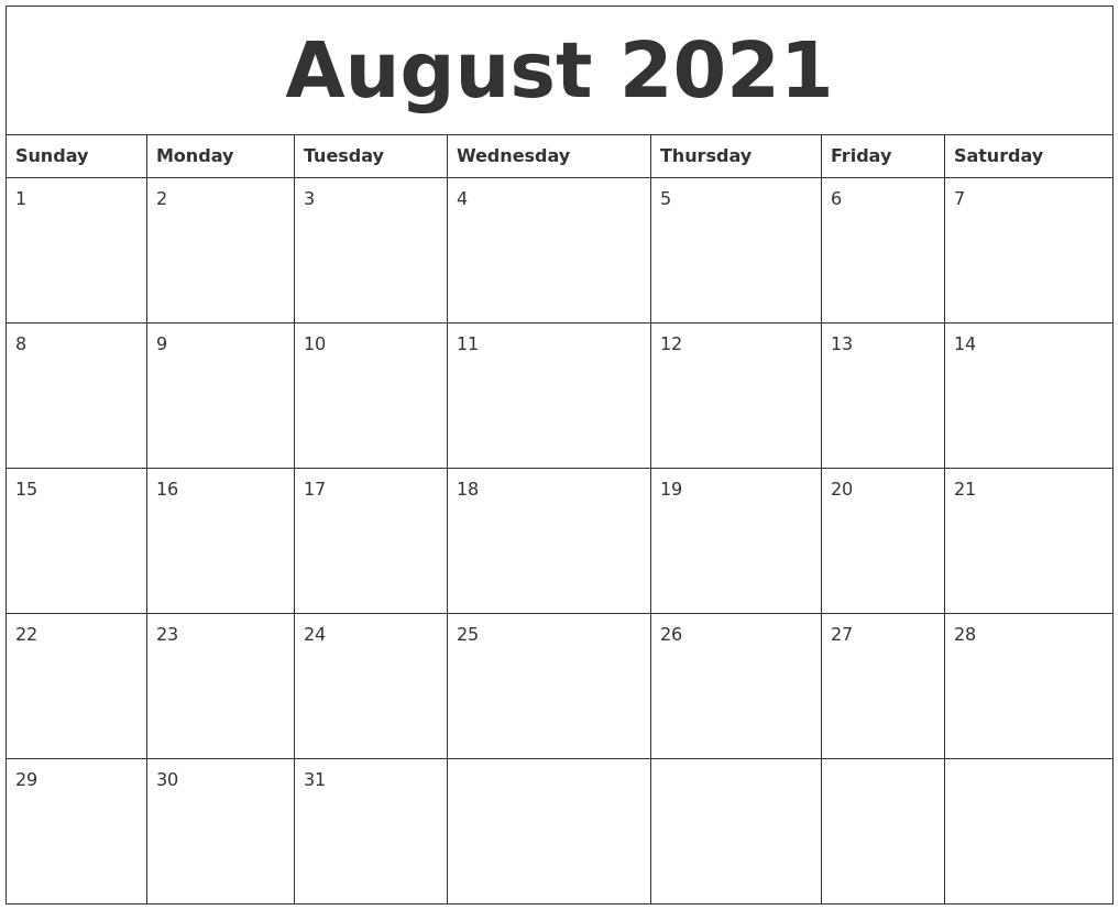 August 2021 Blank Calendar To Print with regard to August 2021 Calendar Print
