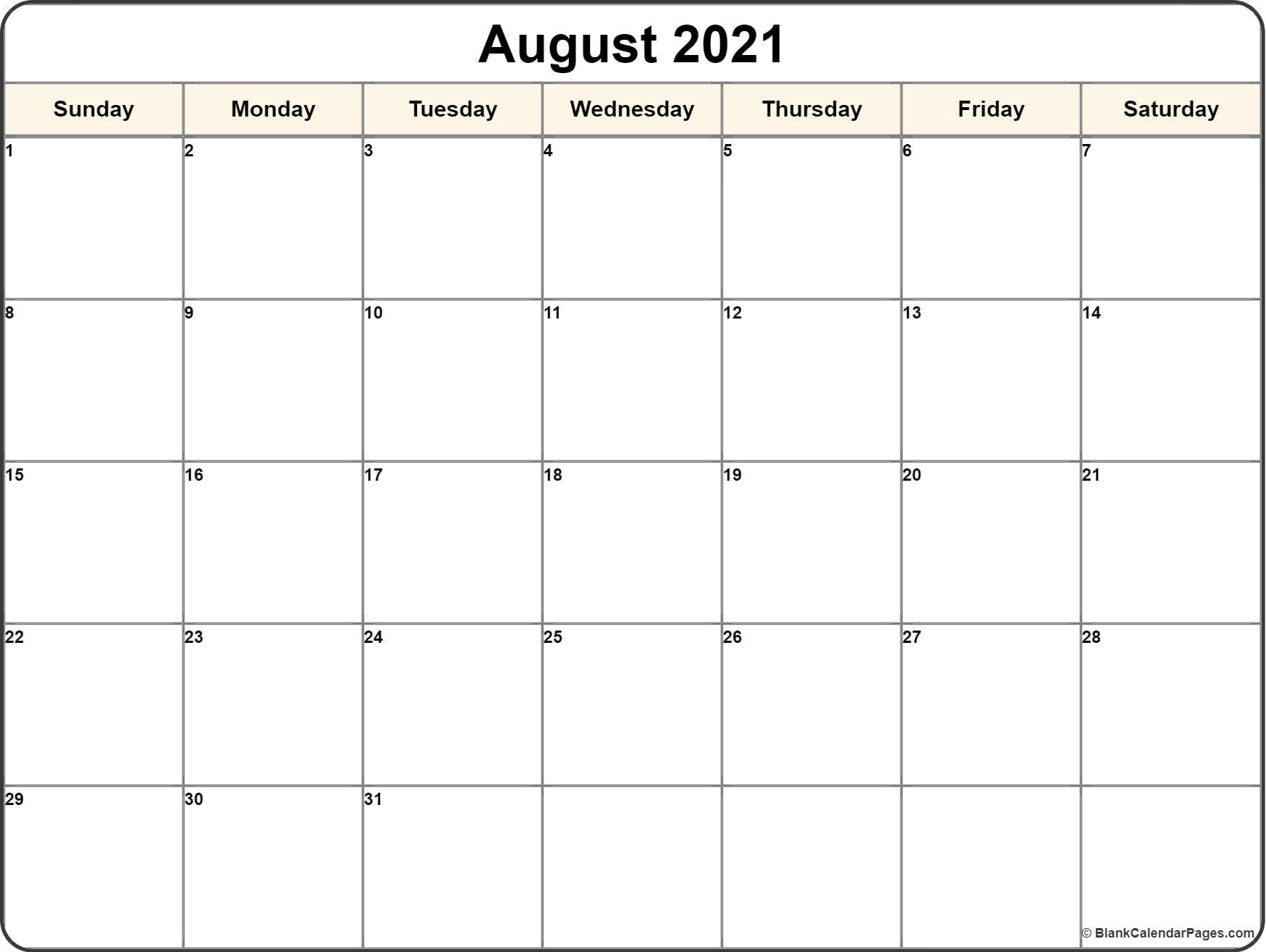 August 2021 Calendar | 56+ Templates Of 2021 Printable inside August 2021 Template Calendar