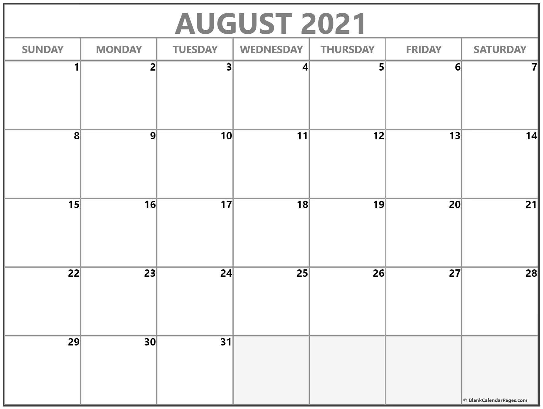 August 2021 Calendar   Free Printable Calendar Templates for August 2021 Calendar Print