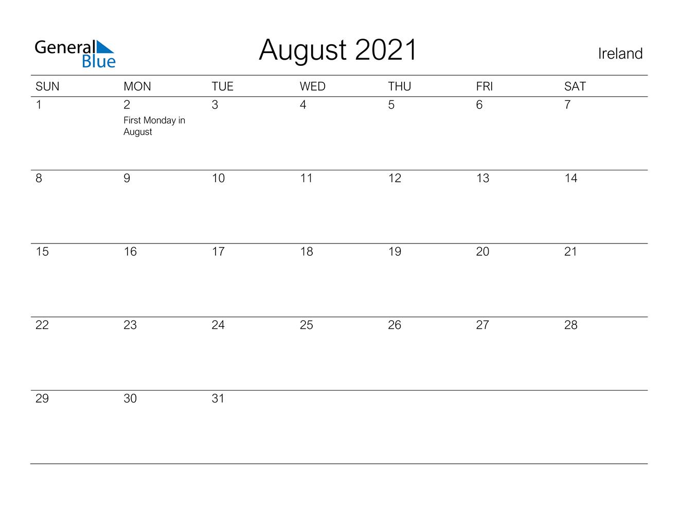 August 2021 Calendar  Ireland in August 2021 Calendar Print