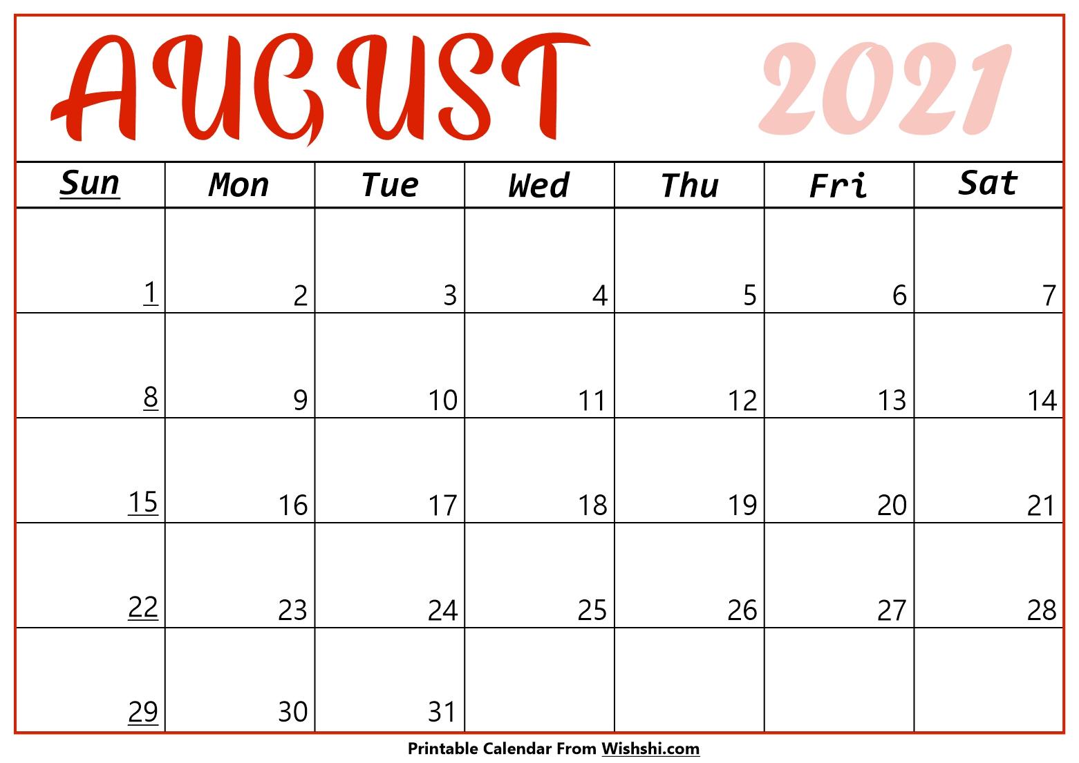 August 2021 Calendar Printable  Free Printable Calendars with August 2021 Calendar Print