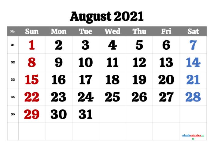 August 2021 Calendar Printable Free | Template M21Calistoga1 with regard to August 2021 Calendar Print