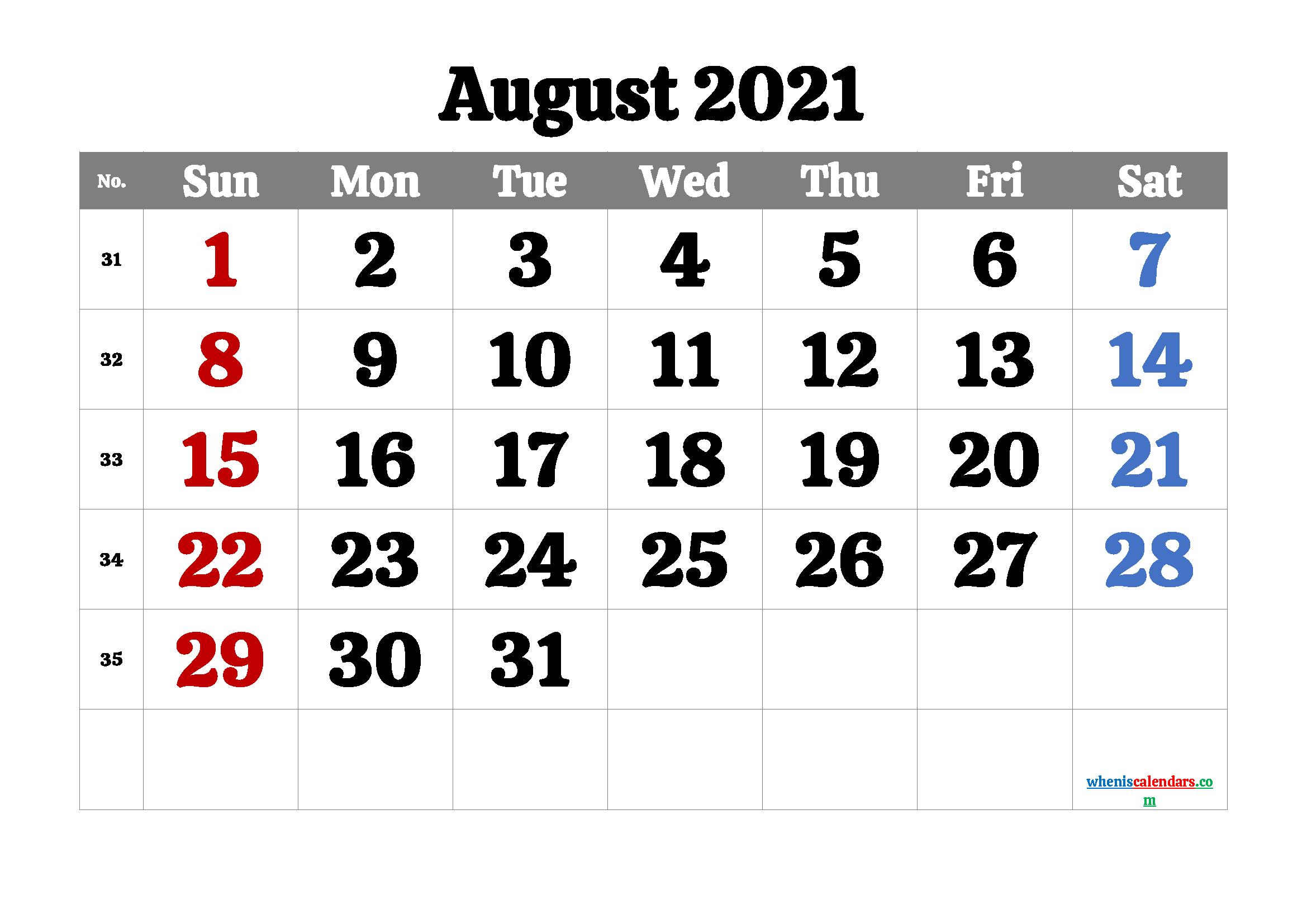 August 2021 Calendar Printable Free   Template M21Calistoga1 with regard to August 2021 Calendar Print