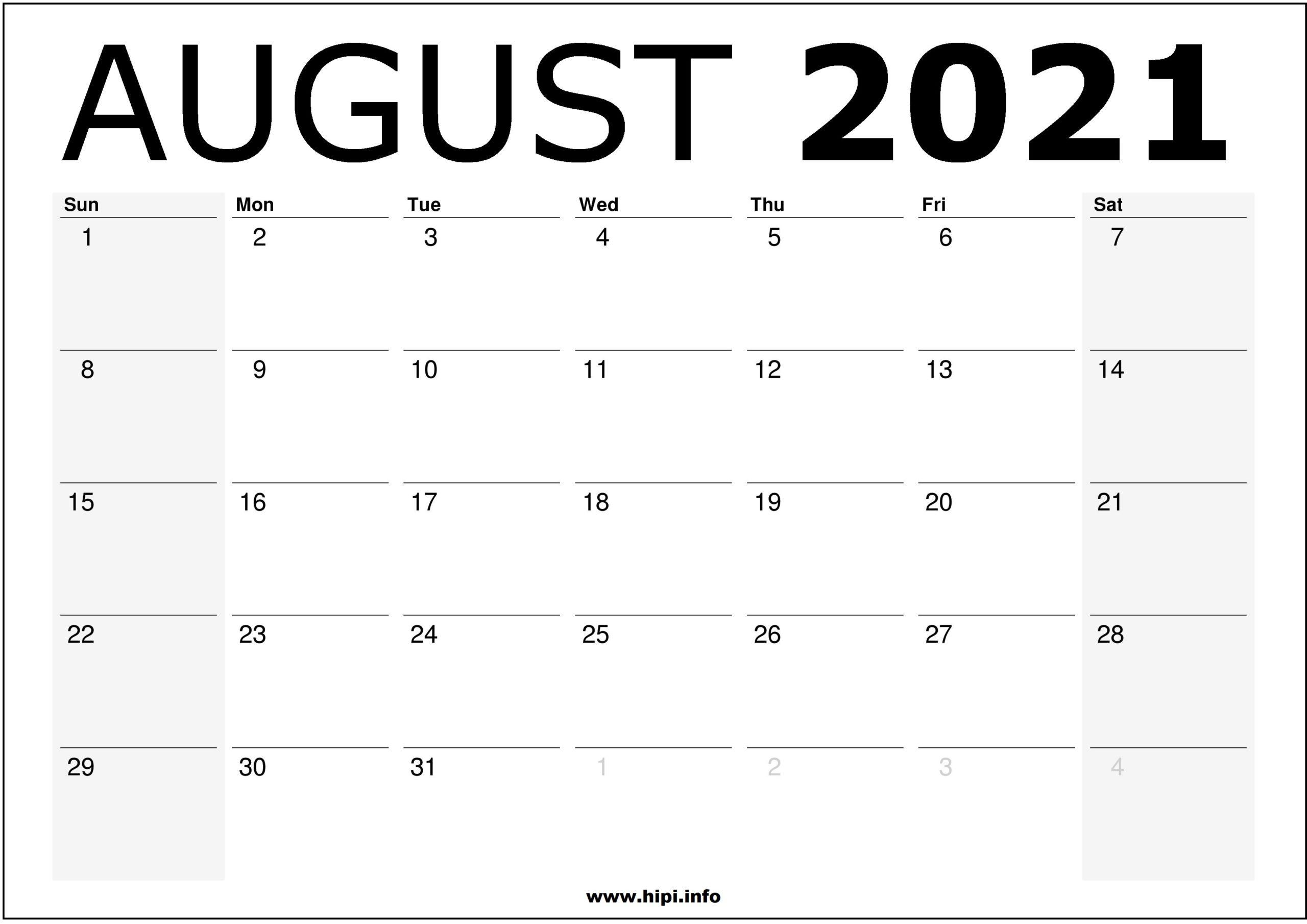 August 2021 Calendar Printable  Monthly Calendar Free inside August 2021 Calendar Print