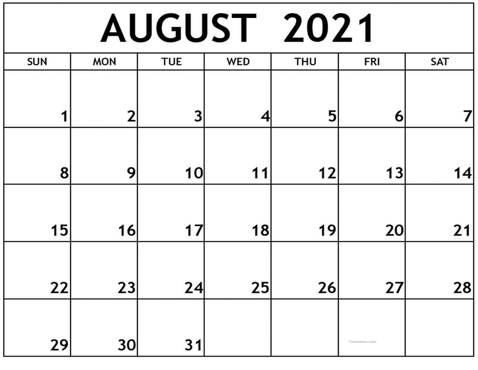 August 2021 Calendar Printable Schedule Excelsheet   Calendar throughout Google Printable Monthly Calendar 2021