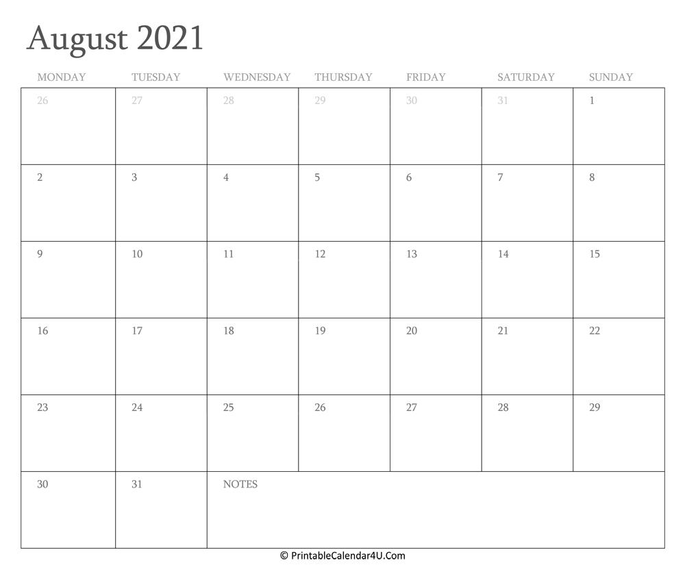 August 2021 Calendar Printable With Holidays pertaining to Free Calendars 2021 Word Doc Printable August