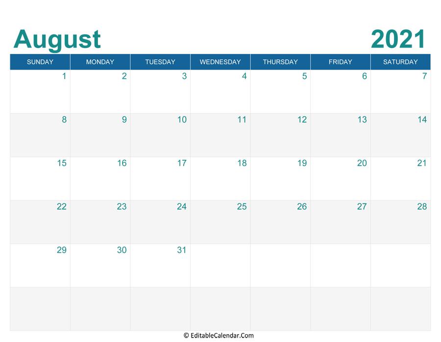 August 2021 Calendar Templates in August 2021 Template Calendar