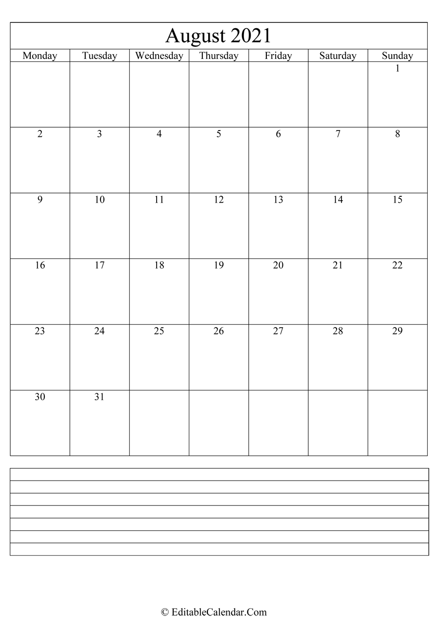 August 2021 Calendar Templates with regard to Free Calendars 2021 Word Doc Printable August