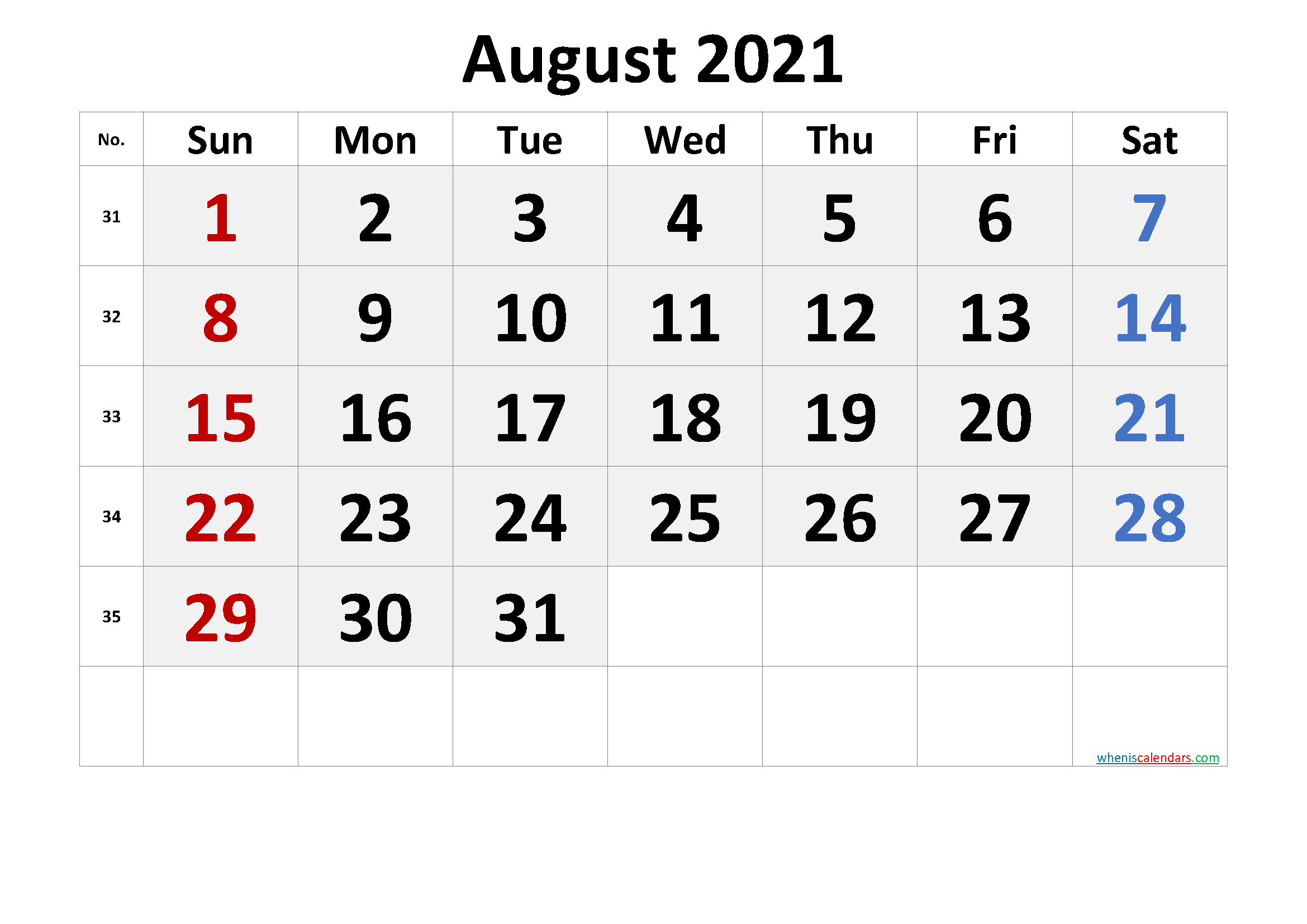 August 2021 Calendar With Holidays   Printable Calendars 2021 with August 2021 Calendar Print