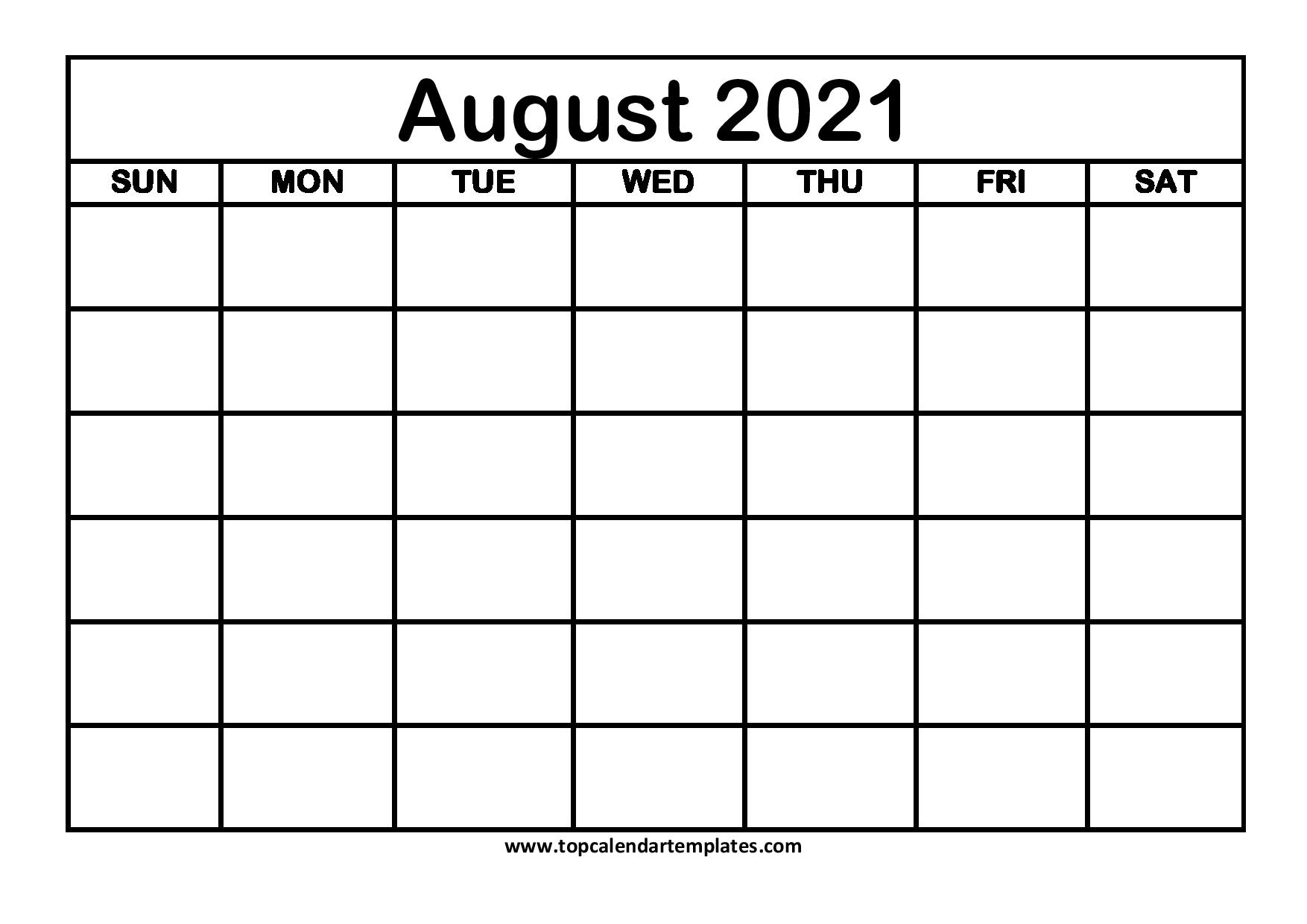 August 2021 Printable Calendar  Monthly Templates with August 2021 Template Calendar