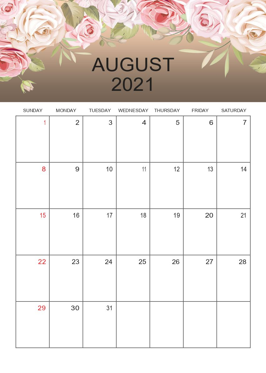 August 2021 Printable Calendar Pdf Templates Free Download intended for Free Calendars 2021 Word Doc Printable August