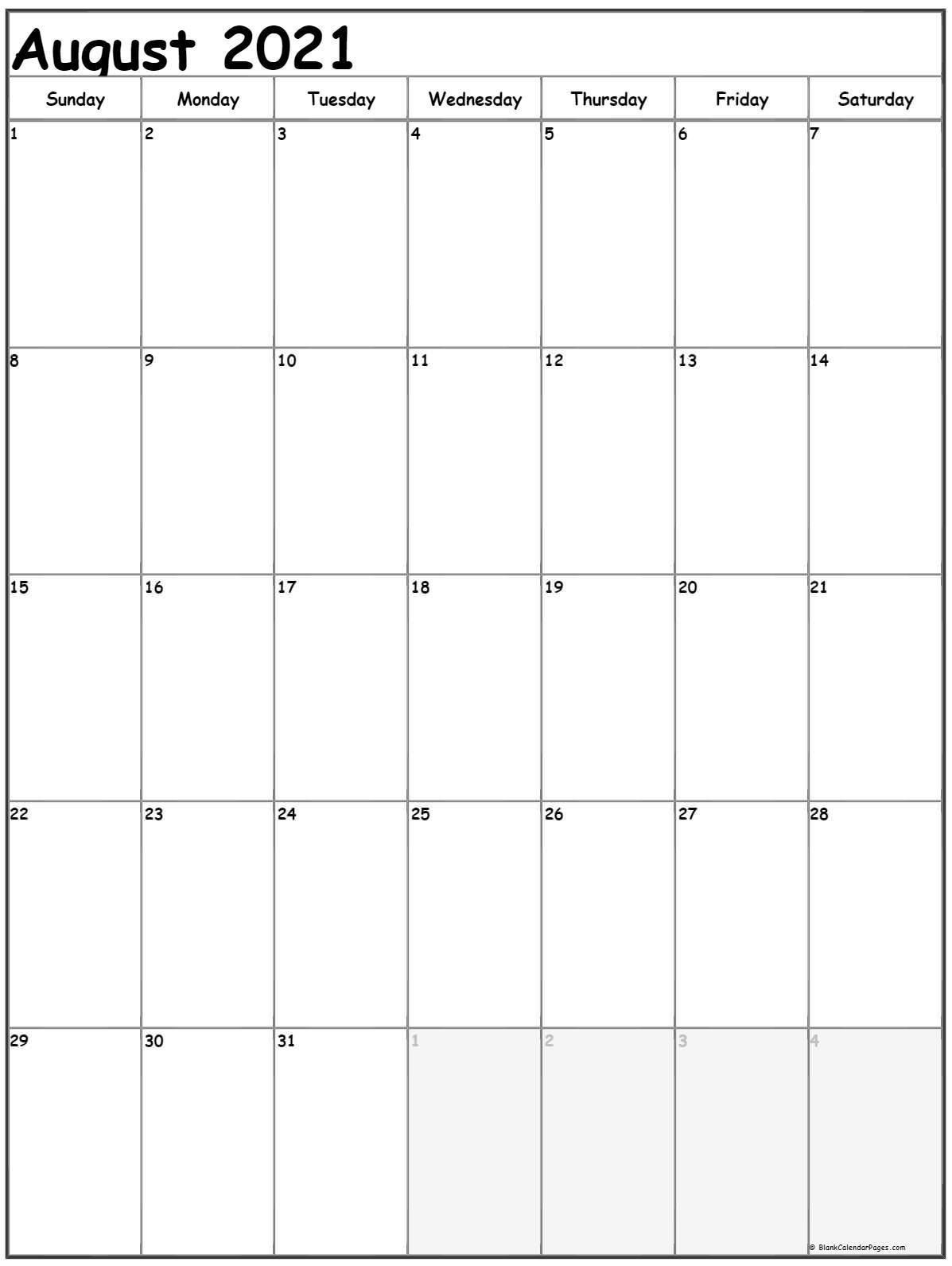 August 2021 Vertical Calendar | Portrait intended for Free Calendars 2021 Word Doc Printable August