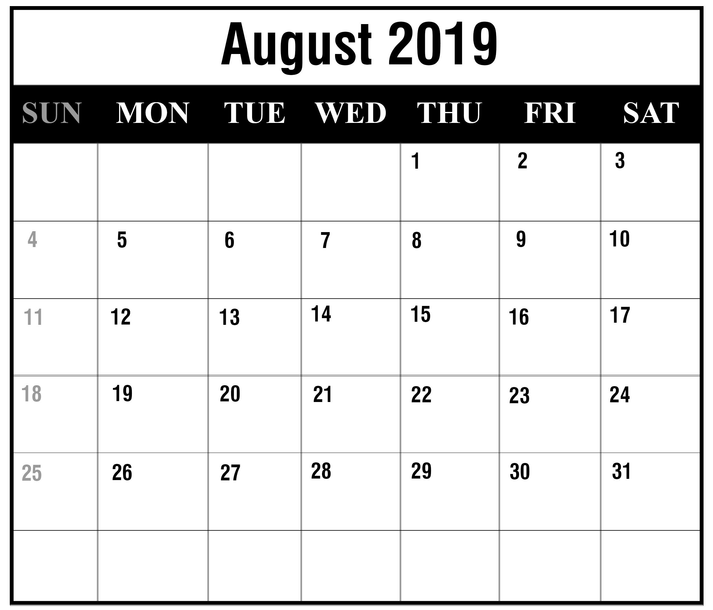 August Calendar 2019 Printable Pdf Word Template Free throughout Free Calendars 2021 Word Doc Printable August