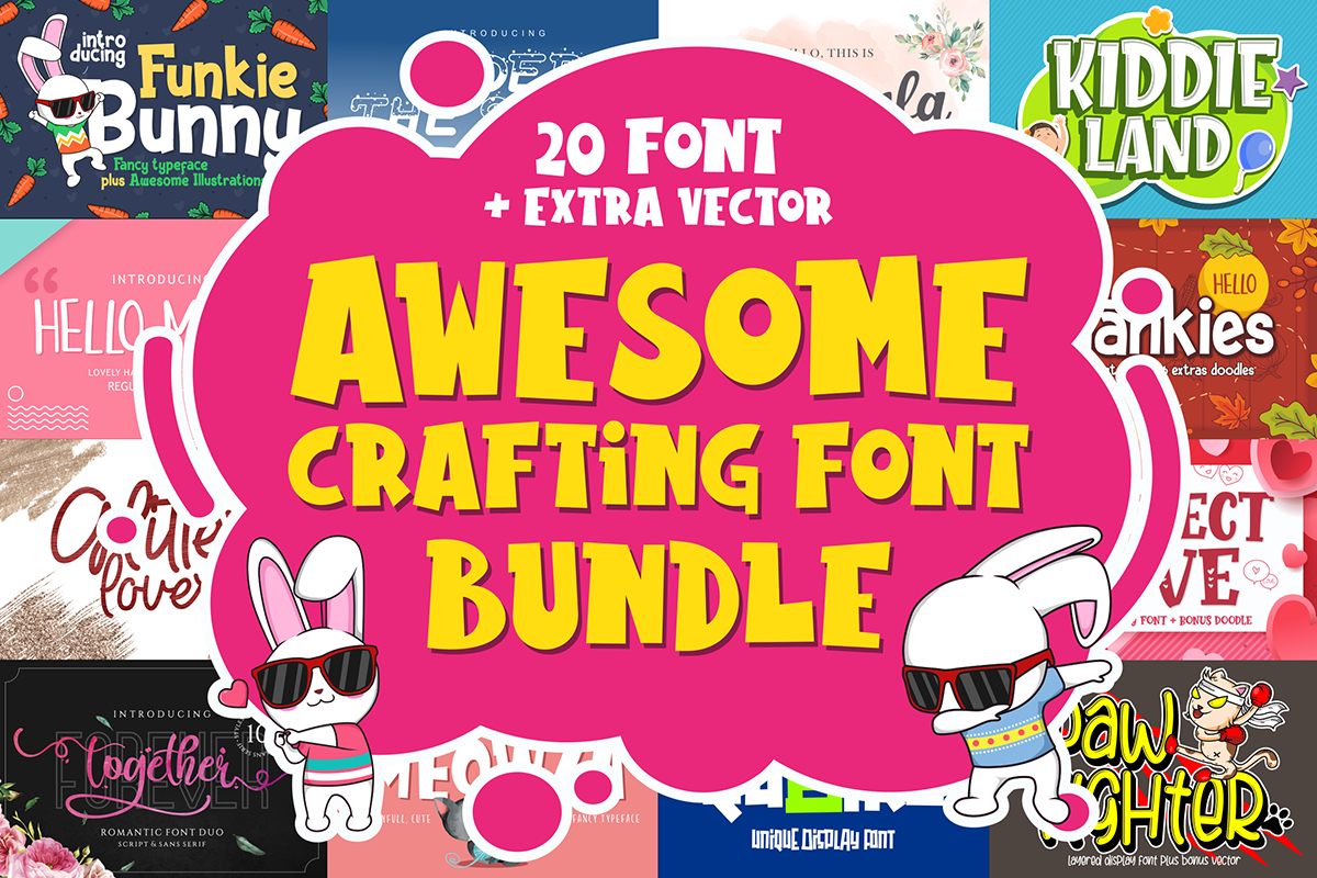 Awesome Crafting Font Bundle  Only $9 | Graphichoard intended for Agp Font Awesome Collection