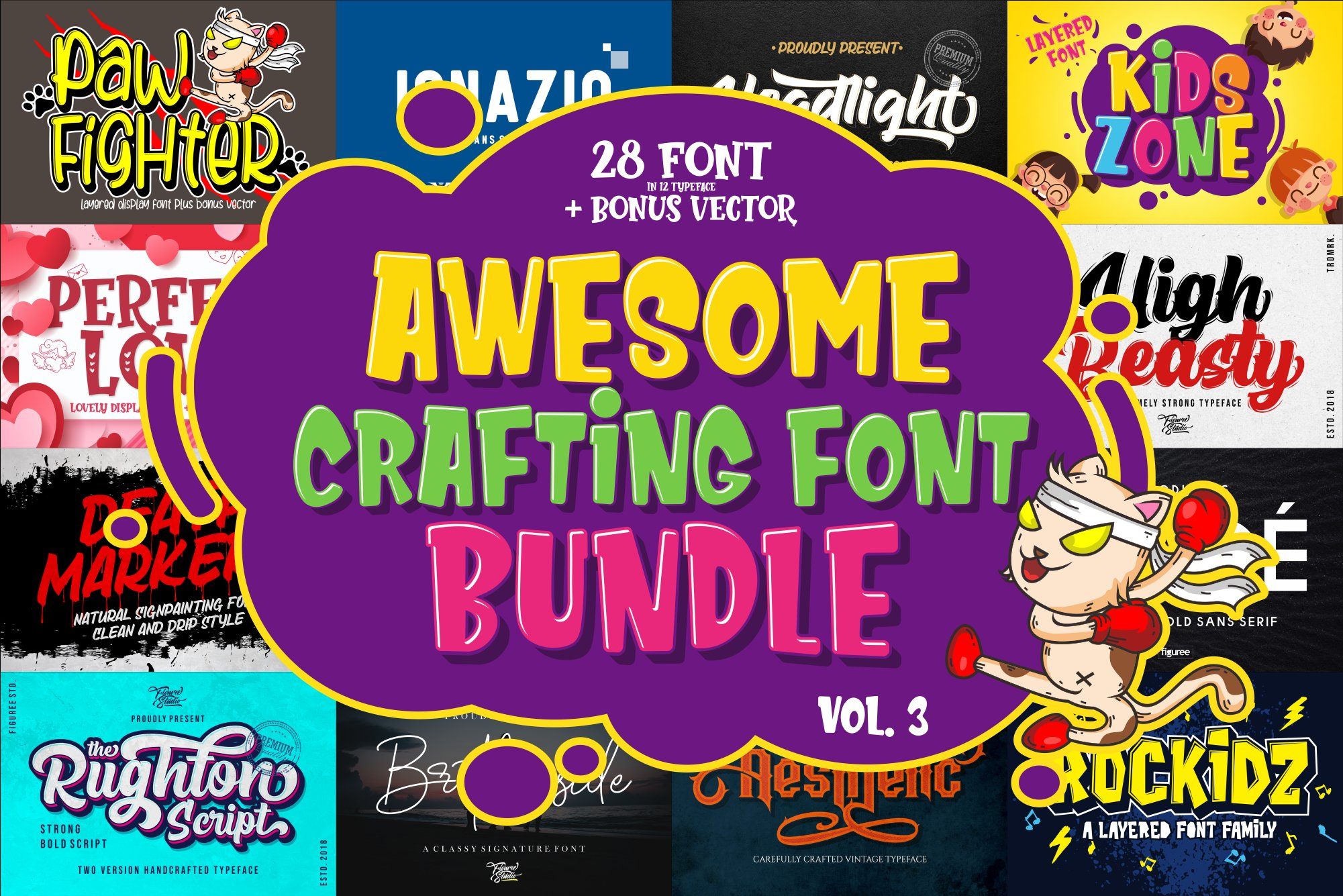 Awesome Crafting Font Bundle Vol. 3 (681390) | Display pertaining to Agp Font Awesome Collection